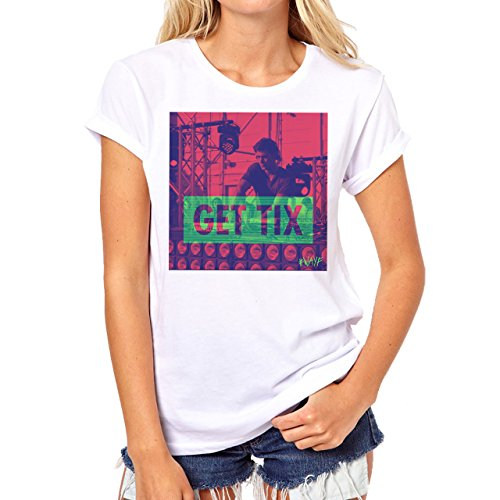 We Are Your Friends Movie Summer WAYF Get Tix Edition Red Blue Background Damen T-Shirt Weiß