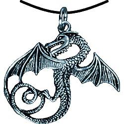 Cadena de Serpiente de Best 1094 Caballero Dragón con alas, Colgante, Colour Plateado