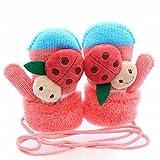 SAMGU Inverno del ragazzo della neonata bambini Ladybug guanti caldi guanti per i bambini colore Rosa