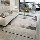 CarPET SESO UK- Moderne Einfache Geometrie Muster Teppich Rutschfeste Haushalt Nachttischdecke für Wohnzimmer Schlafzimmer Dekoration Dicke-7mm (größe : 160X230cm)