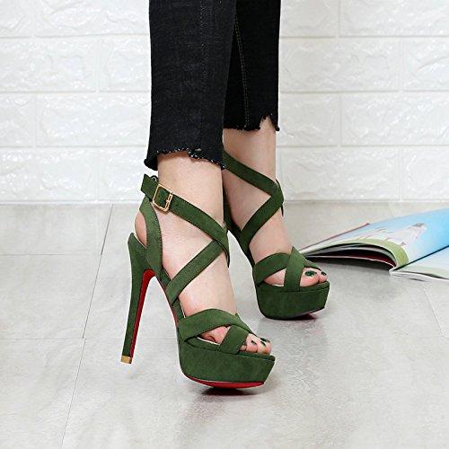 LGK&FA Fine Con Anello Cinturino Trasversale Sandali Tacco Alto Sandali Impermeabile Bocca Di Pesce Scarpe 35 Verde 36 green