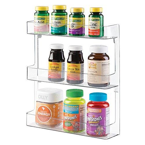 Mdesign porta medicinali - scaffale da parete in plastica robusta a tre ripiani - organizer bagno per accessori sanitari, medicinali, integratori alimentari e vitamine - trasparente