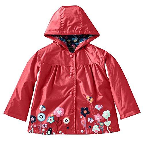 Highdas Girls Windproof & Waterproof Flowers Raincoat Outwear Jacket