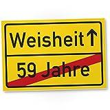DankeDir! Weisheit (59 Jahre) Kunststoff Schild - Geschenk 60. Geburtstag, Geschenkidee Geburtstagsgeschenk Sechzigsten, Geburtstagsdeko/Partydeko / Party Zubehör/Geburtstagskarte