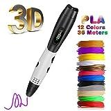 Pluma 3D Fede, Lápiz 3D con[12 Rollo Filamento de PLA ]en 12 Colores de 1,75mm Cada Uno de 3m y Un Total de 36m, Boligrafo 3D con Pantalla LCD para Impresión 3D Regalo para Niños y Adultos