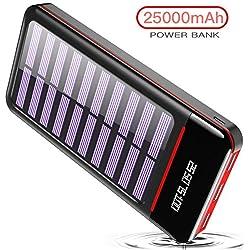 RLERON Batterie Externe 25000mAh Solaire Power Bank Chargeur LCD Display 3 Ports USB & 2 Entrées(Type-C & Android Device) Haute Vitesse et Technologie pour iPhone,iPad, Android Smartphone,Tablettes et