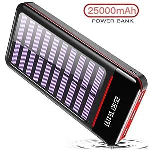 RLERON Powerbank Solar 25000mAh Tragbares Ladegerät Solarladegeräte mit Dual Eingangsports und 3 USB Ausgängen, Digitalanzeige hohe Kapazitäts Externer Akku für Das Tablettes, Smartphones