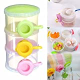 Ole Baby 3 Chamber Formula Milk Powder Dispenser & Snacks Storage Container, Stackable, Portable and Convenient BPA Free