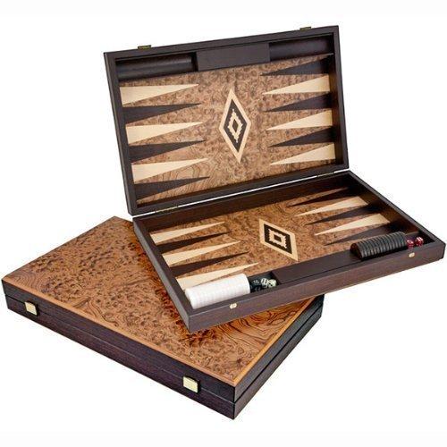 Manopoulos Luxus Nussbaum Wurzelholz Backgammon Set