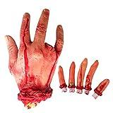 Mani finte sanguinolente, dita di sangue sanguinanti finte e mani umane finte sanguinanti per decorazioni di Halloween Party Props (1 mano + 5 dita)