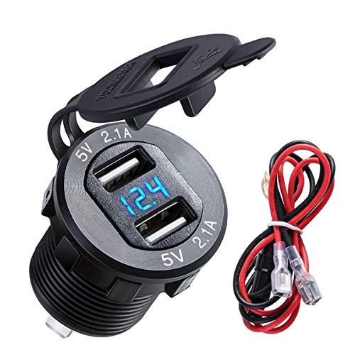 4.2A Dual USB 2.1A & 2.1A Ladegerät Buchse Wasserdichte Steckdose W/LED Voltmeter & Draht Inline 10A Sicherung für 12-24 V Auto Boot Marine Motorrad (Color : Black Shell Blue Light) Shell Usb