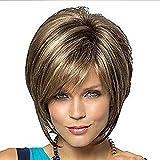 Fleurapance Perruques Femme Courte Blondes Naturelles Bob Ondulée Cheveux Brun Synthétiques à Frange Résistant à La Chaleur Similaire Aux Cheveux Réels Droit Couleur Mixte Perruque Fete
