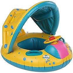Simshew Produit satisfaisant Flotteur Gonflable de l'eau de Natation de bébé, Yacht de Bateau de siège de bébé avec l'auvent réglable de Parasol Safty pour l'âge 6-36 Mois Enfants d'enfant en Bas âge