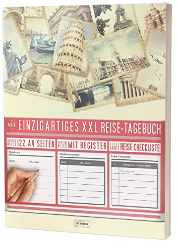 """Mein Einzigartiges XXL Reisetagebuch: 122 Seiten, Register, Kontakte / Neue Auflage mit Reise Checkliste / PR401 """"Reisefotos"""" / DIN A4 Soft Cover"""