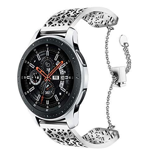 it Galaxy Watch 46MM Armband, 22MM Silber Metallarmband Armband Edelstahl Uhrenarmband Ersatz für Samsung Galaxy Watch 46MM SM-R800/Samsung Gear S3 Frontier/Classic ()
