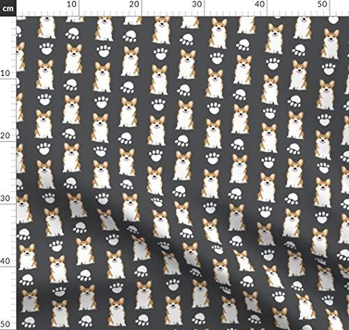 Corgi, Corgis, Pfoten, Pfotenabdruck, Hunde Stoffe - Individuell Bedruckt von Spoonflower - Design von Petfriendly Gedruckt auf Bio Baumwollsatin -