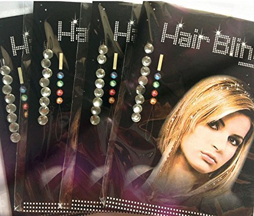 Miya 1 Set Hair Bling bunt Haarschmuck Glitzersteine zum einfädeln Kinder Strassteine steinchen Glitzer Frisur Haarkristalle ohne Hitze einfädeln HB001 (HB002)