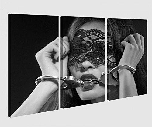 Leinwandbild 3 tlg Erotik Sexy Frau Handschälen Bett Hand Schlafzimmer schwarz weiß Bild Bilder Leinwand Leinwandbilder Holz Wandbild mehrteilig 9W482, 3 tlg BxH:90x60cm (3Stk 30x 60cm)