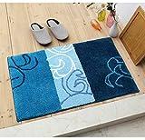 DOTBUY Fußmatte Beflockung Innen Dekoration, Gedruckt Innen Fußmatte Beflockung-Fuss-Auflage Badezimmer Anti Slip Teppiche Für Praktisch Küche (50x80, Blaue Blumen)
