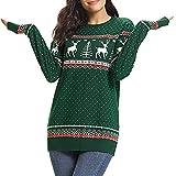 JUTOO Weihnachten Damen Zipper Dots Print Tops Kapuzenpullover Pullover Bluse T-Shirt(Grün,Large)