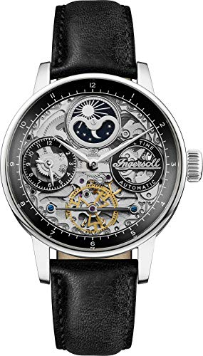 Ingersoll The Jazz Mens Automatic Watch I07701 with a Black Dial and a Black Genuine Leather Band
