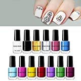 NICOLE DIARY 6 ml Stamping Nagellack Reine Farbe Vorlage Druck Polnischen Lack Nail art Stempel Lack Maniküre DIY Design (13 farben)