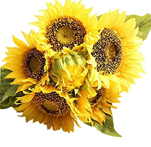 leisial Brides Bouquet Sunflower Home Decor Artificial Fake Flower for Wedding Bridal Party Home Decoration Office, Yellow (The Head 7 of Flowers)