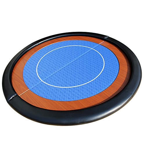 (EBS® Compact Folding Round Poker Table Top in Blue Speed Cloth - 120cm)