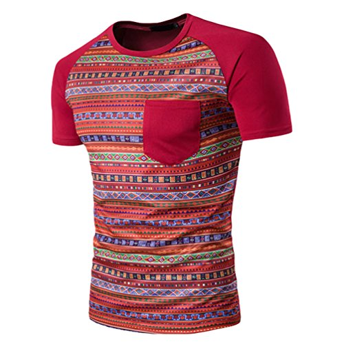 ZhiyuanAN Herren Kurzarm Stitching Rundhals T-Shirt Slim Fit Bedruckte Tshirt Mit Taschen Comfort Wildes Top Tee Rot