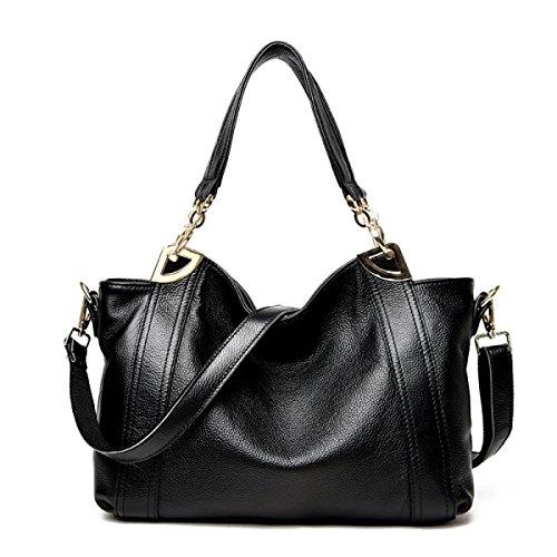 FZHLY Pelle Europa E Negli Stati Uniti Messenger Shoulder Bag Big Capacity,Brown Black