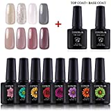 Coscelia 8pc UV Gellack Nagel Lacken Farbenset + Top Base Coat