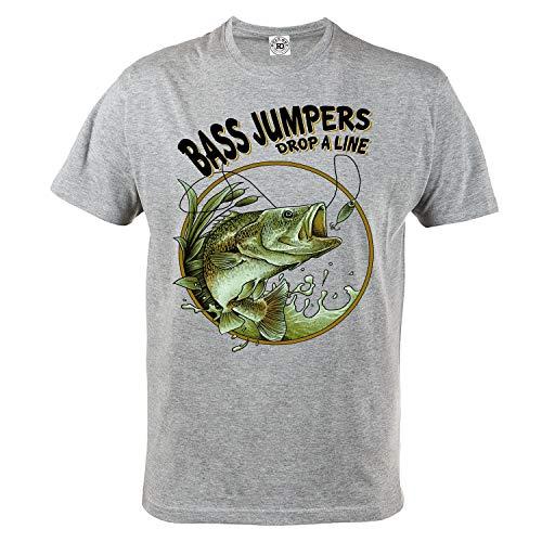 Rule Out Herren Casual T-Shirt. Bass Jumpers. Angeln. Fischen T-Shirt. Grau (Größe XXLarge) - Bass-fischen-shirt
