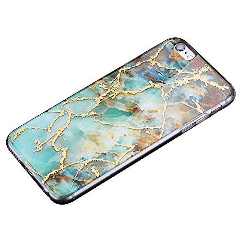 Cover per iPhone 8, CLTPY iPhone 7 Sottile Copertura in Silicone Morbido con Design Marmo Colorato Belle per Apple iPhone 7/8 + 1 x Stilo Libero - Gris Verde Giada