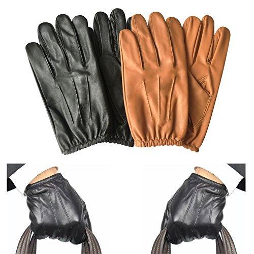 ren Police Handschuhe Enge Passform Taktisch Kleid-handschuh Chauffeur Echte Cow Nappa Leder 083 - 083-schwarz, Large ()