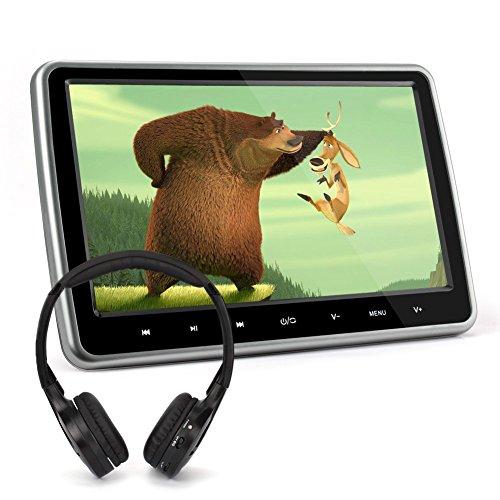 """10,1"""" Zoll Auto Monitor DVD Player Kopfstütze Monitor mit Fernbedienung Kopfhörer Kfz System unterstützt Spiel HDMI USB SD FM IR TV für Kinder TFT LCD Bildschirm NAVISKAUTO 1001S"""
