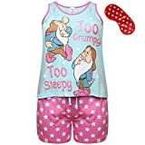 Disney Snow White Baumwolle Pyjamas Too Grumpy Too Sleepy mit Sterndruck Augenmaske (44-46)