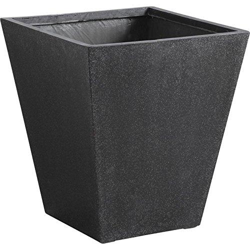 Série de 3 cache-pot carré noir en poly terrazzo