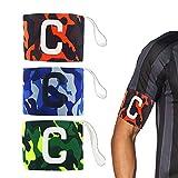AUVSTAR Bracciale per capitani di Giovani Adulti Velcro per Dimensioni Regolabili, Adatto per più Sport tra Cui Calcio e Rugby, Hockey e Gaelico. Confezione da 3 Colori