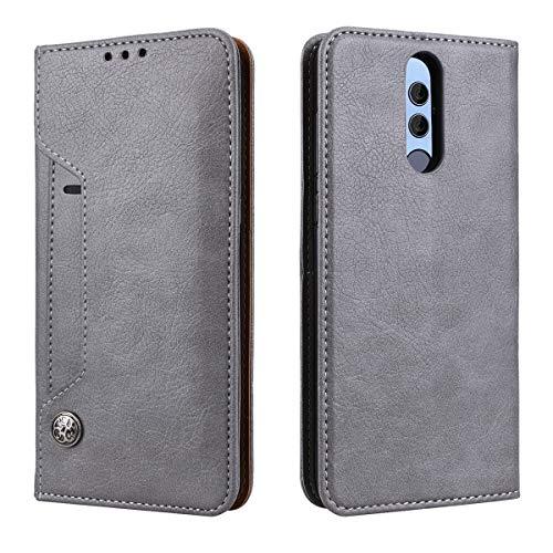 SMART LEGEND für Huawei Mate 10 Lie Hülle Handyhülle Tasche mit Kartenfach Kredit Karten Fach Geldklammer Wallet Case Leder Handy Schutzhülle Ledertasche Lederhülle Magnet Standfunktion - Grau