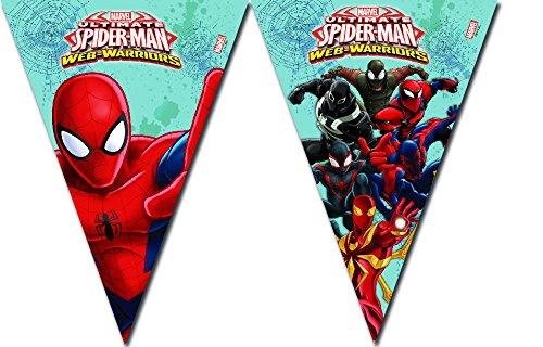 Procos 1 Wimpelkette * Ultimate Spiderman Web Warriors * für Geburtstag und Motto-Party // Set Plastic Table Cover Kindergeburtstag Kinder Motto Web Warrior Superheld Spider Man