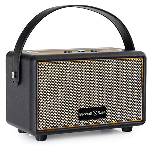Bennett & Ross BB-820 Blackmore Junior - Retro Bluetooth Lautsprecher in Lederoptik mit 2200 mAh Akku - Vintage Speaker mit 20W - MicroSD-Eingang mit MP3-Player - 3,5mm Aux-Anschluss - Schwarz
