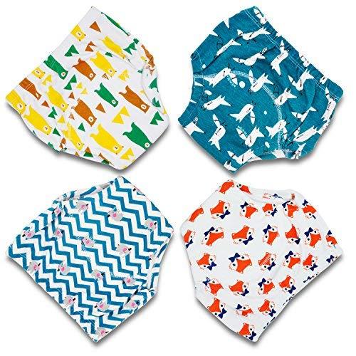 Flyish Baby Trainingshose Kinder Windelhose Kleinkind Training Unterwäsche Baumwolle wiederverwendbar und waschbar bequem 4er Pack, Boy, 90
