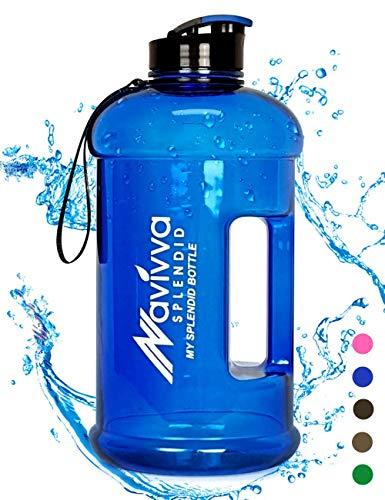 Sport Trinkflasche Groß - 2.2 L Fitness Wasserflasche - Große XXL Sportflasche - Gym Water Bottle - BPA Frei - Easy Drink Cap - Spülmaschinenfest (Blau)