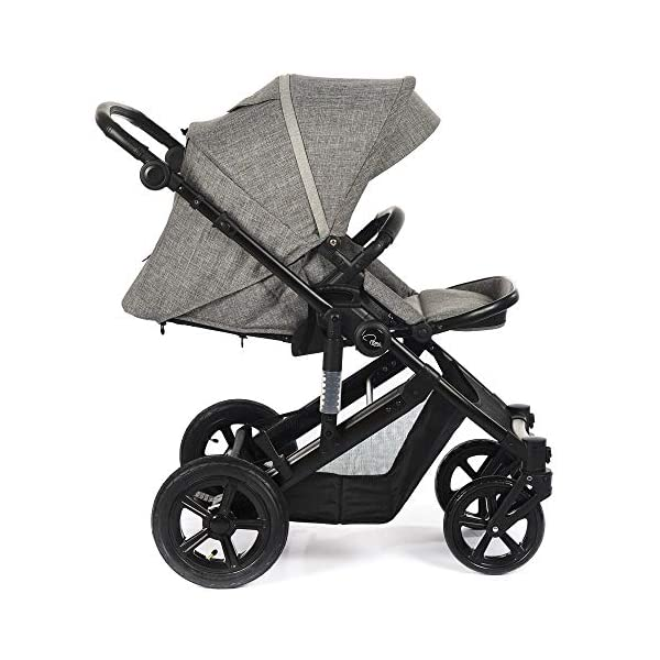 Roma Moda Pram, Includes Carry Cot, Rain Cover, Cup Holder and Bag - Grey Roma Suitable from newborn - 15kg - Raised backrest in the carry cot Lightweight aluminium frame - All round suspension - Easy fold All terrain tyres (rear air tyres and front foam tyres) Large hood with viewing window 5