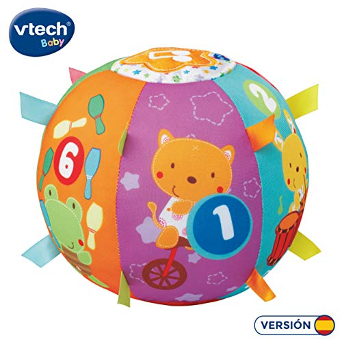 VTech - Bola cantarina, Pelota interactiva de Tela con más de 50 Canciones, Frases y melodías Que enseñan números, Animales y Ayuda a desarrollar el Tacto, motricidad Gruesa, Causa y Efecto, lenguaje