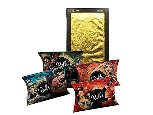 Rolls Kiffer Geschenkset - 40x Smart Filter Tips - Shine 24K Gold Rolling Papers King Size - Eindrehfilter mit Kühlsystem - 1x Gold Blunt Paper -