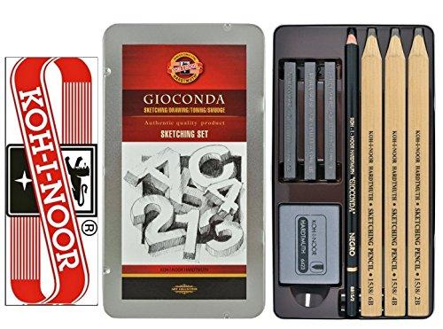 8-tlg. Zeichenset GIOCONDA KOH-I-NOOR 8892 Kohle Graphitstifte Bleistifte
