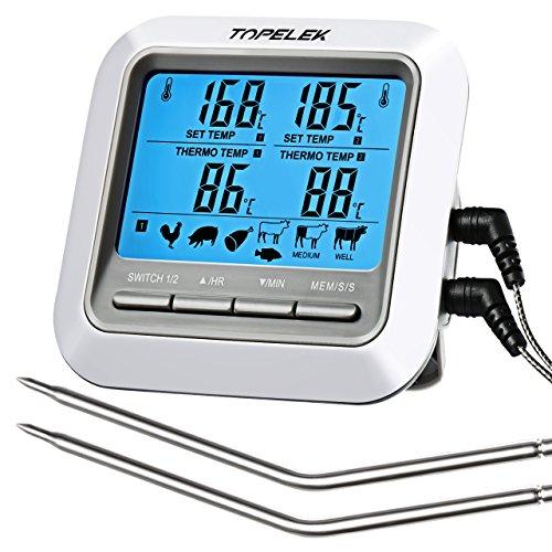 TOPELEK Grillthermometer Fleischthermometer 2 Sonden Haushaltsthermometer Temperatur Voreinstellung, Küchenwecker, Sofortiges Auslesen, Magnetisches Montagedesign für Küche, Grill.