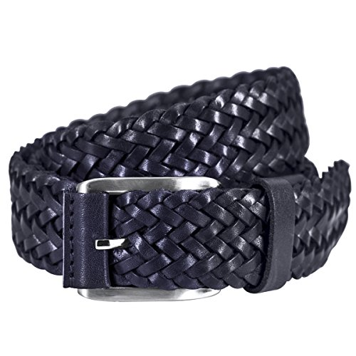 Lindenmann Mens Leather Belt/Mens belt, braided leather belt, navy