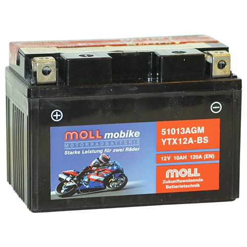 Moll mobike AGM Motorradbatterie YTX12A-BS 10Ah 12V 120A - 51013